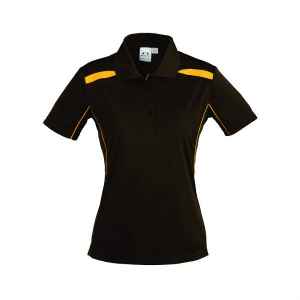 United Ladies Golf Shirt - Brown With Yellow Only