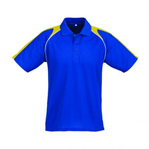 Triton Mens Golf Shirt - Royal Blue With Yellow Only